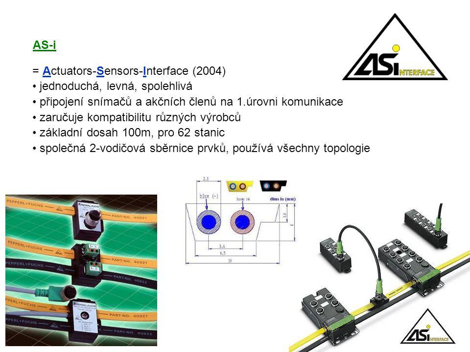 = Actuators-Sensors-Interface (2004) jednoduchá, levná, spolehlivá připojení snímačů a akčních členů na 1.úrovni komunikace zaručuje kompatibilitu různých výrobců základní dosah 100m, pro 62 stanic společná 2-vodičová sběrnice prvků, používá všechny topologie AS-i