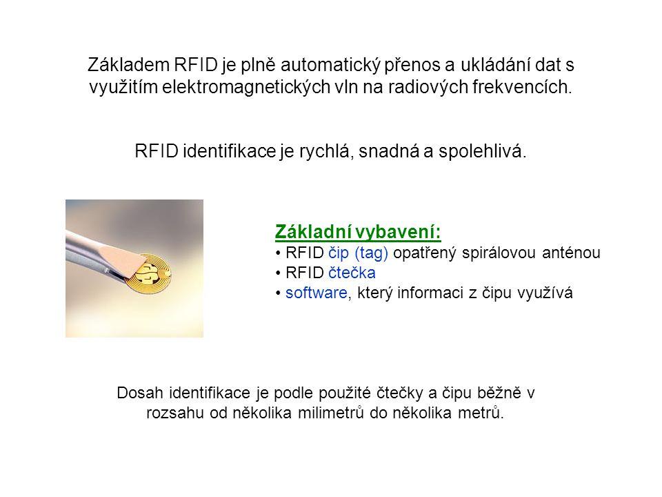R.F.I.D. RFID = RadioFrequency IDentification identifikace na rádiové frekvenci (bezdrátová identifikace) RFID navazuje na identifikaci používající čá