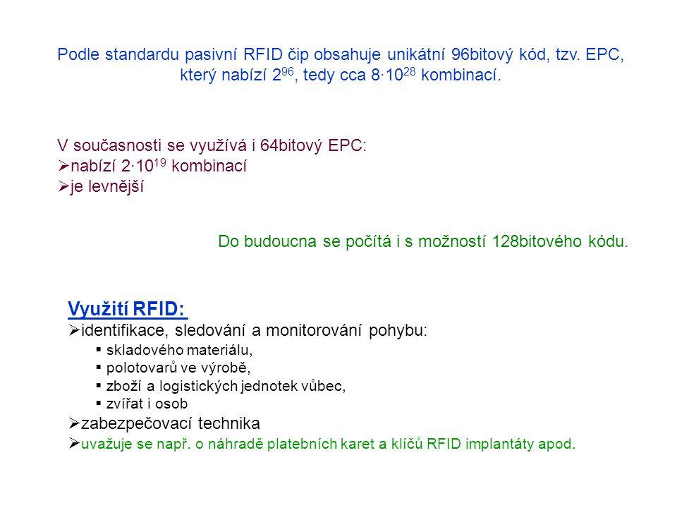 Provedení RFID tagů: karta - ISIC, platební karty, bezpečnostní a vstupní karty, etiketa - může být na zadní straně čárového kódu, ampulka - pro impla