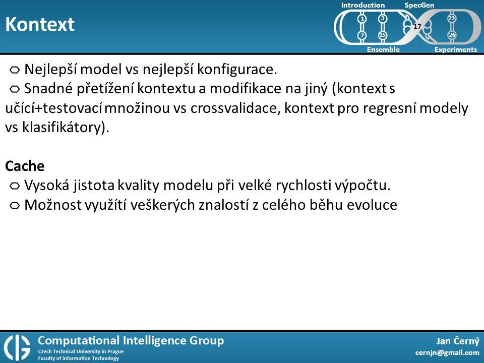 Kontext Jan Černý cernjn@gmail.com Introduction Ensemble SpecGen Experiments 1 2 Nejlepší model vs nejlepší konfigurace.