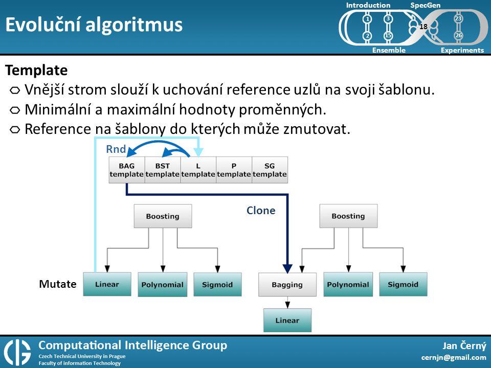Evoluční algoritmus Jan Černý cernjn@gmail.com Introduction Ensemble SpecGen Experiments 1 2 Template Vnější strom slouží k uchování reference uzlů na svoji šablonu.