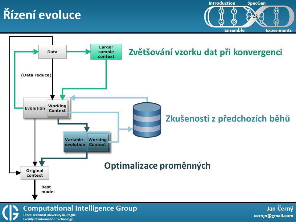 Řízení evoluce Jan Černý cernjn@gmail.com Introduction Ensemble SpecGen Experiments 1 2 22 3 15 Zvětšování vzorku dat při konvergenci Zkušenosti z předchozích běhů Optimalizace proměnných 23 26
