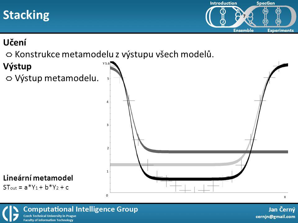Stacking Jan Černý cernjn@gmail.com Introduction Ensemble SpecGen Experiments 1 2 Učení Konstrukce metamodelu z výstupu všech modelů.