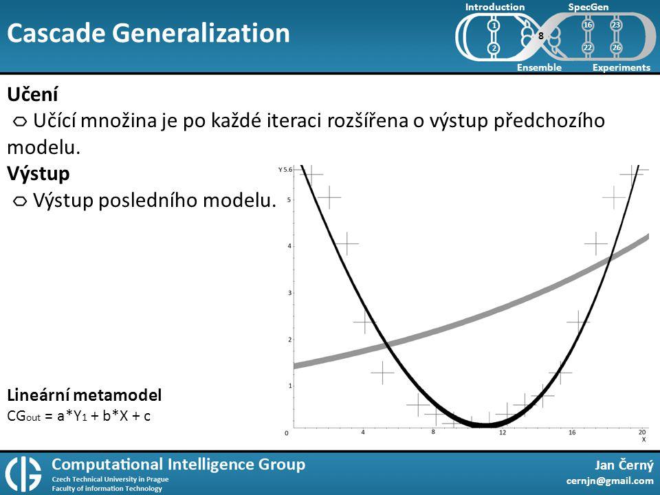 Cascade Generalization Jan Černý cernjn@gmail.com Introduction Ensemble SpecGen Experiments 1 2 Učení Učící množina je po každé iteraci rozšířena o výstup předchozího modelu.