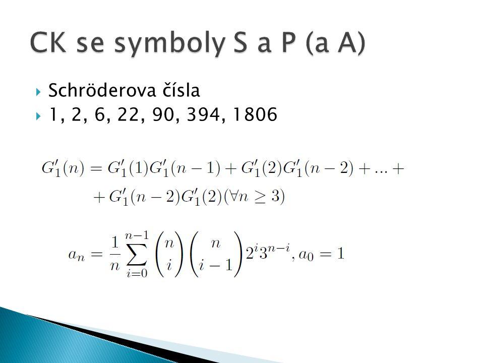  Schröderova čísla  1, 2, 6, 22, 90, 394, 1806