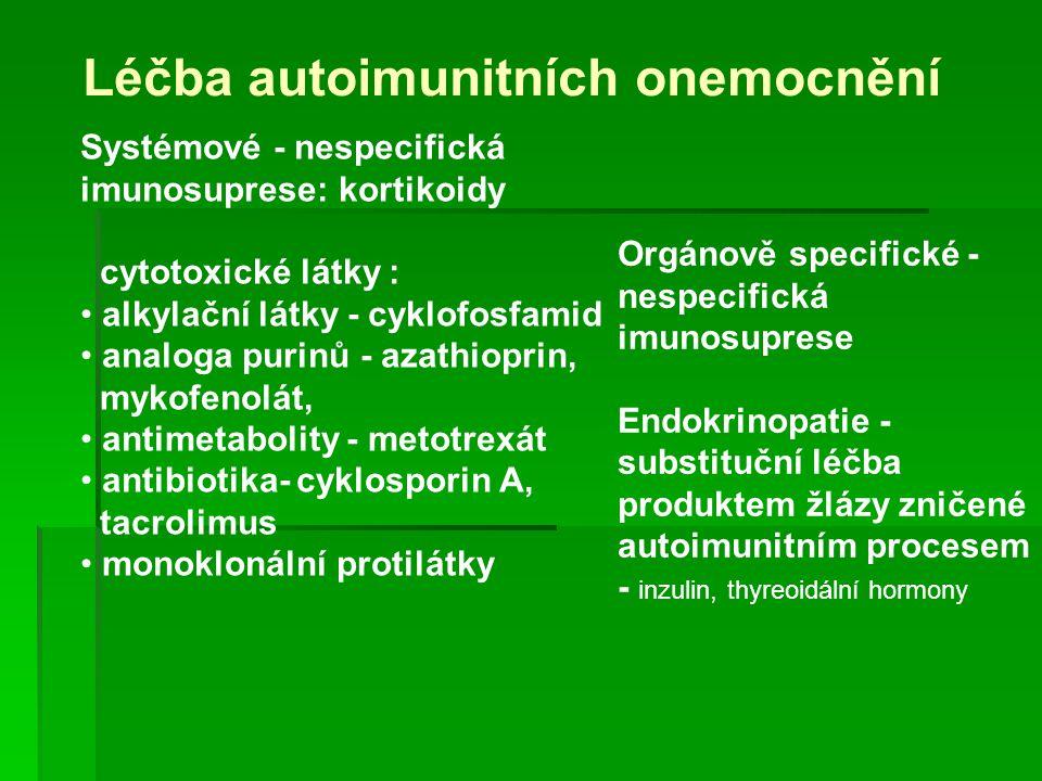 Léčba autoimunitních onemocnění Systémové - nespecifická imunosuprese: kortikoidy cytotoxické látky : alkylační látky - cyklofosfamid analoga purinů -
