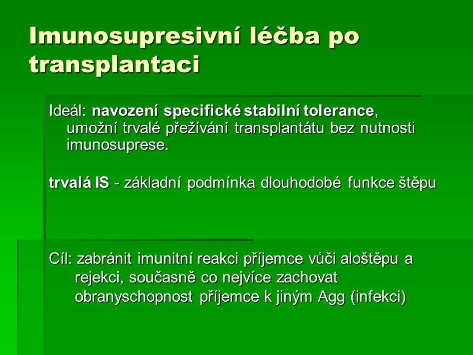 Imunosupresivní léčba po transplantaci Ideál: navození specifické stabilní tolerance, umožní trvalé přežívání transplantátu bez nutnosti imunosuprese.