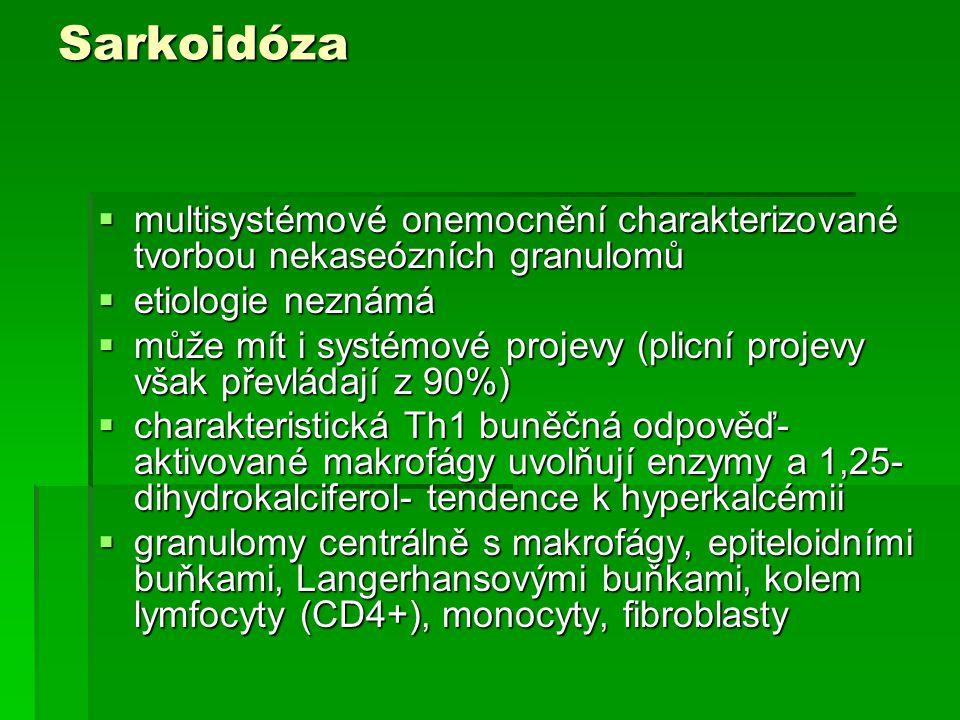 Sarkoidóza  multisystémové onemocnění charakterizované tvorbou nekaseózních granulomů  etiologie neznámá  může mít i systémové projevy (plicní proj