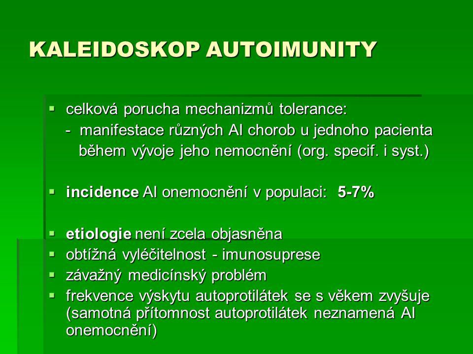 KALEIDOSKOP AUTOIMUNITY  celková porucha mechanizmů tolerance: - manifestace různých AI chorob u jednoho pacienta - manifestace různých AI chorob u j