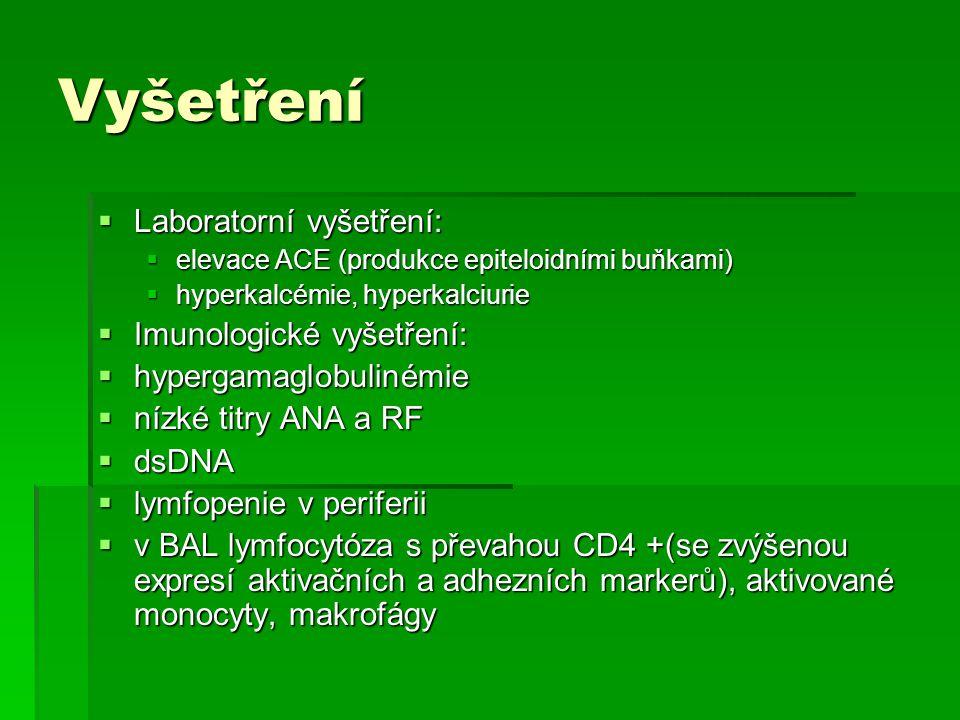 Vyšetření  Laboratorní vyšetření:  elevace ACE (produkce epiteloidními buňkami)  hyperkalcémie, hyperkalciurie  Imunologické vyšetření:  hypergam