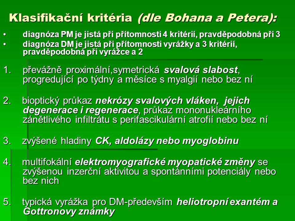 Klasifikační kritéria (dle Bohana a Petera): diagnóza PM je jistá při přítomnosti 4 kritérií, pravděpodobná při 3diagnóza PM je jistá při přítomnosti