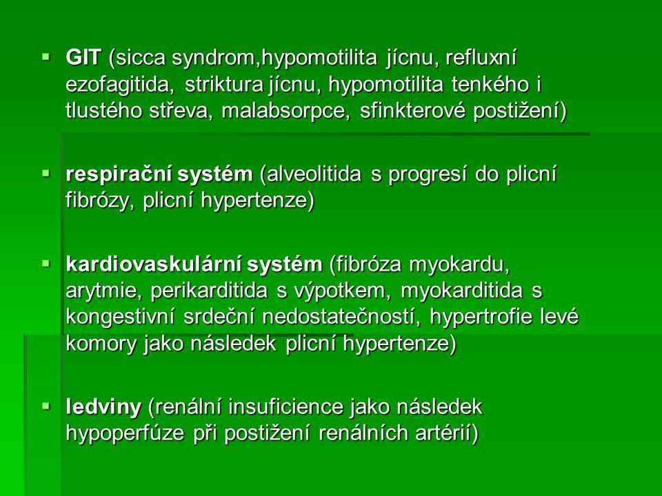  GIT (sicca syndrom,hypomotilita jícnu, refluxní ezofagitida, striktura jícnu, hypomotilita tenkého i tlustého střeva, malabsorpce, sfinkterové posti