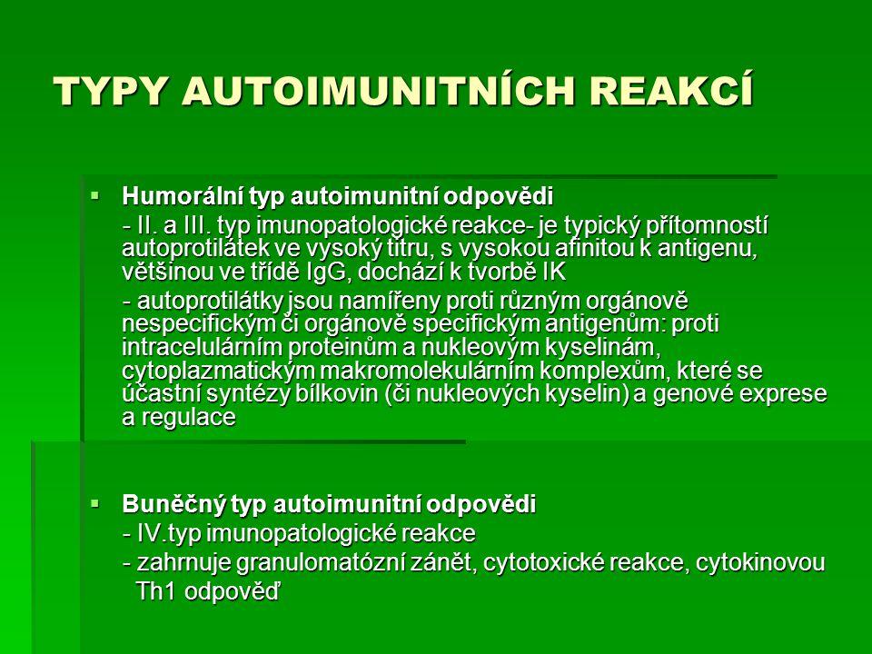 TYPY AUTOIMUNITNÍCH REAKCÍ  Humorální typ autoimunitní odpovědi - II. a III. typ imunopatologické reakce- je typický přítomností autoprotilátek ve vy