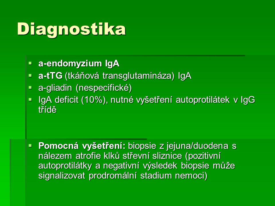 Diagnostika  a-endomyzium IgA  a-tTG (tkáňová transglutamináza) IgA  a-gliadin (nespecifické)  IgA deficit (10%), nutné vyšetření autoprotilátek v