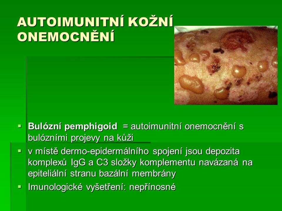 AUTOIMUNITNÍ KOŽNÍ ONEMOCNĚNÍ  Bulózní pemphigoid = autoimunitní onemocnění s bulózními projevy na kůži  v místě dermo-epidermálního spojení jsou de