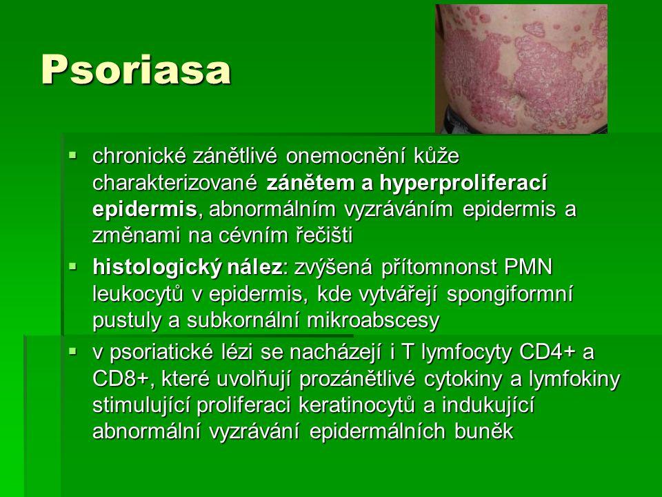 Psoriasa  chronické zánětlivé onemocnění kůže charakterizované zánětem a hyperproliferací epidermis, abnormálním vyzráváním epidermis a změnami na cé