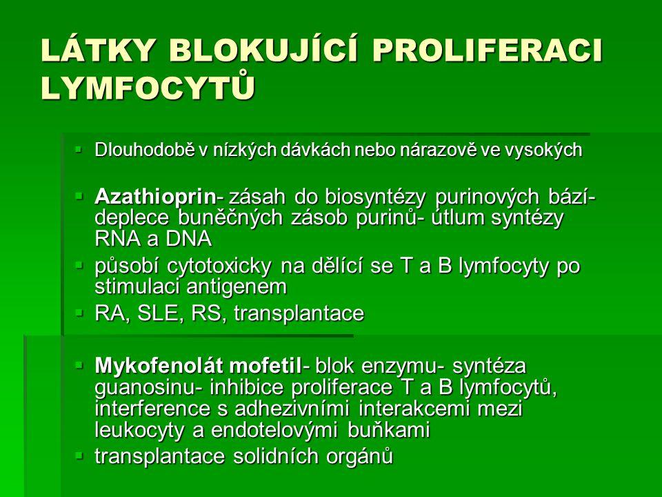 LÁTKY BLOKUJÍCÍ PROLIFERACI LYMFOCYTŮ  Dlouhodobě v nízkých dávkách nebo nárazově ve vysokých  Azathioprin- zásah do biosyntézy purinových bází- dep