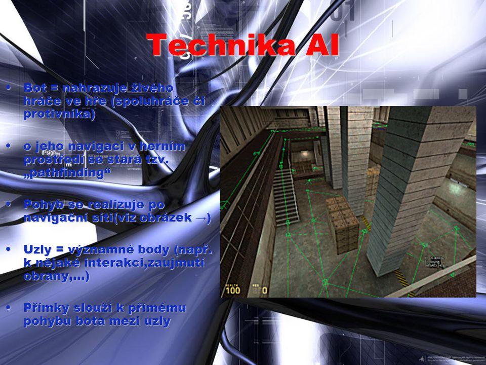 Technika AI Bot = nahrazuje živého hráče ve hře (spoluhráče či protivníka)Bot = nahrazuje živého hráče ve hře (spoluhráče či protivníka) o jeho naviga