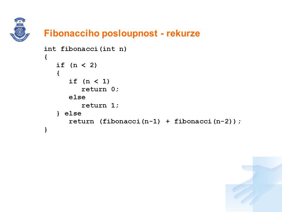 Nadpis int fibonacci(int n) { if (n < 2) { if (n < 1) return 0; else return 1; } else return (fibonacci(n-1) + fibonacci(n-2)); } Fibonacciho posloupn