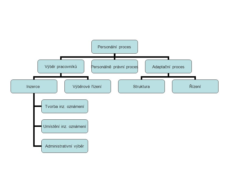 Personální proces Výběr pracovníků Inzerce Tvorba inz. oznámení Umístění inz. oznámení Administrativní výběr Výběrové řízení Personálně právní proces