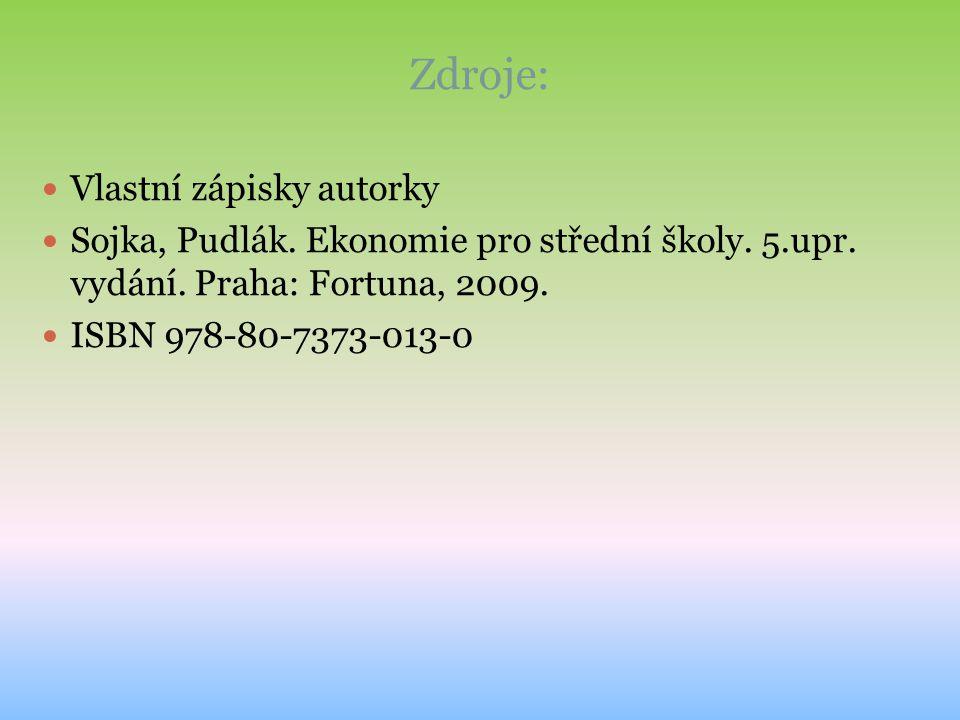 Zdroje: Vlastní zápisky autorky Sojka, Pudlák. Ekonomie pro střední školy. 5.upr. vydání. Praha: Fortuna, 2009. ISBN 978-80-7373-013-0
