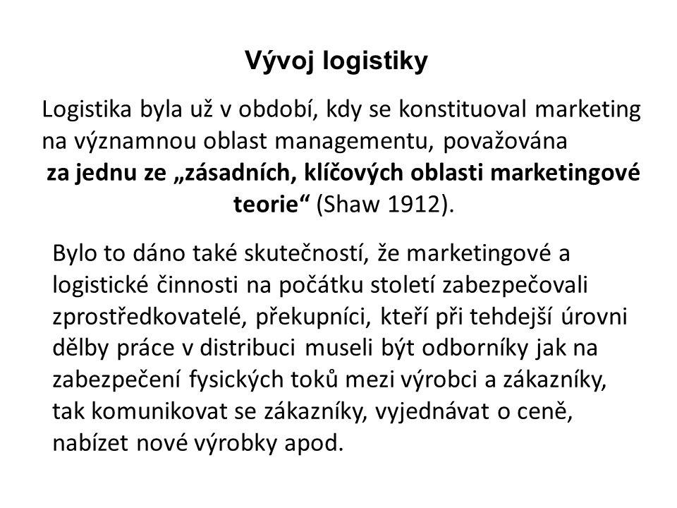 """Logistika byla už v období, kdy se konstituoval marketing na významnou oblast managementu, považována za jednu ze """"zásadních, klíčových oblasti market"""