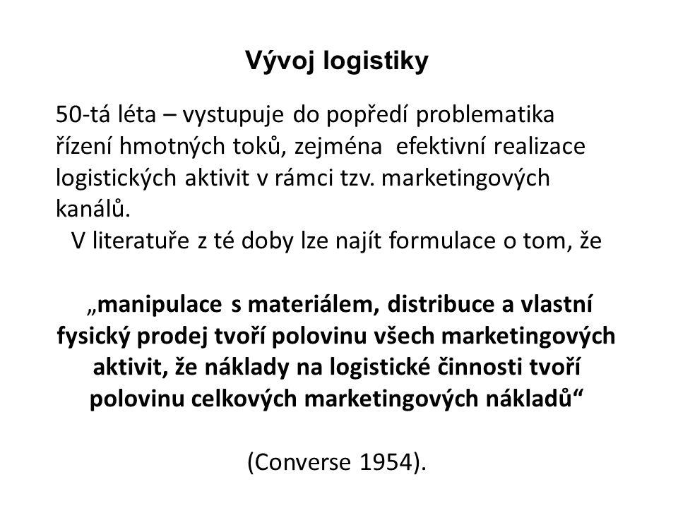 50-tá léta – vystupuje do popředí problematika řízení hmotných toků, zejména efektivní realizace logistických aktivit v rámci tzv. marketingových kaná