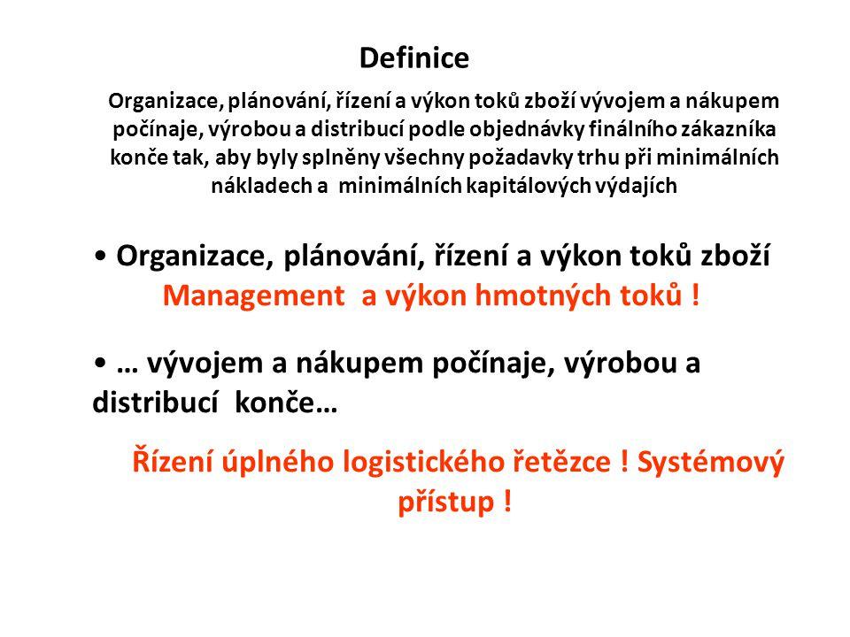 Definice Organizace, plánování, řízení a výkon toků zboží Management a výkon hmotných toků ! … vývojem a nákupem počínaje, výrobou a distribucí konče…