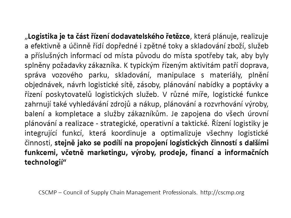 """CSCMP – Council of Supply Chain Management Professionals. http://cscmp.org """"Logistika je ta část řízení dodavatelského řetězce, která plánuje, realizu"""