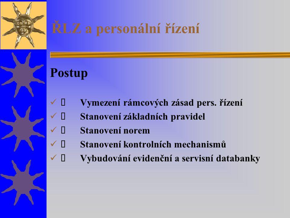ŘLZ a personální řízení Postup  Vymezení rámcových zásad pers.