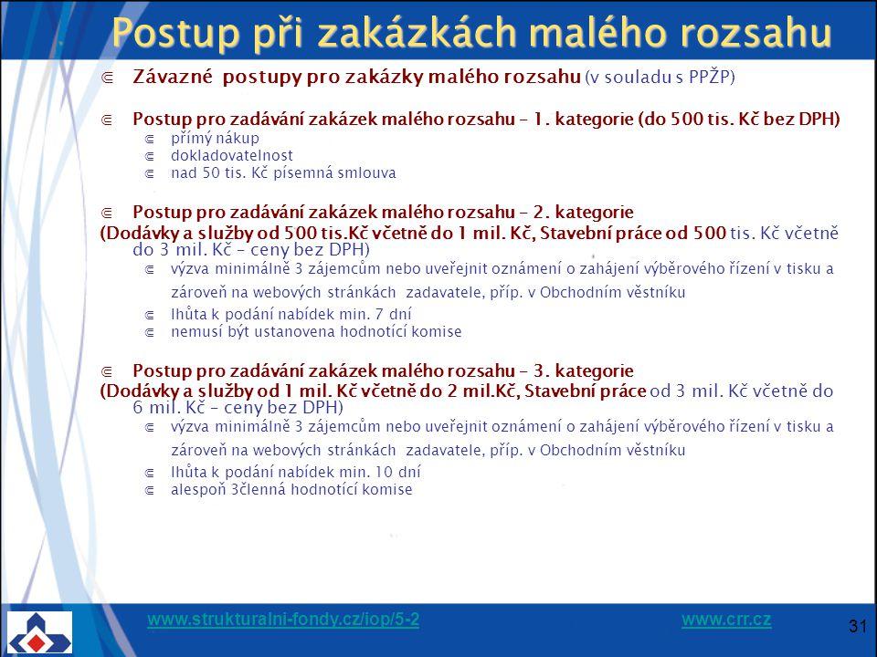 www.strukturalni-fondy.cz/iop/5-2www.strukturalni-fondy.cz/iop/5-2 www.crr.czwww.crr.cz 31 Postup při zakázkách malého rozsahu ⋐Závazné postupy pro zakázky malého rozsahu (v souladu s PPŽP) ⋐Postup pro zadávání zakázek malého rozsahu – 1.