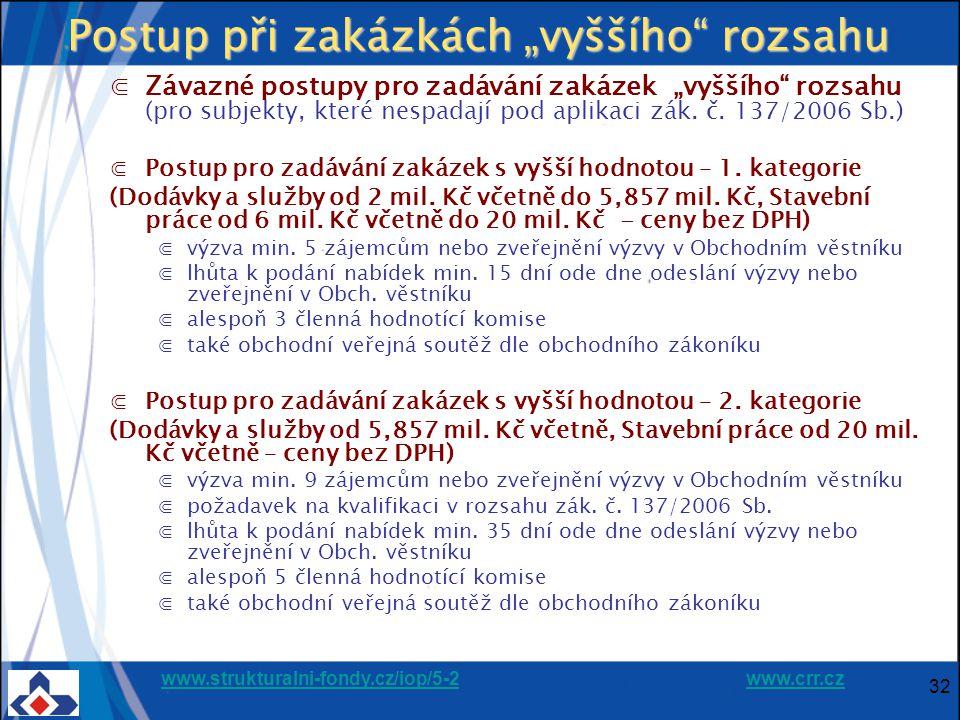 """www.strukturalni-fondy.cz/iop/5-2www.strukturalni-fondy.cz/iop/5-2 www.crr.czwww.crr.cz 32 Postup při zakázkách """"vyššího rozsahu ⋐Závazné postupy pro zadávání zakázek """"vyššího rozsahu (pro subjekty, které nespadají pod aplikaci zák."""