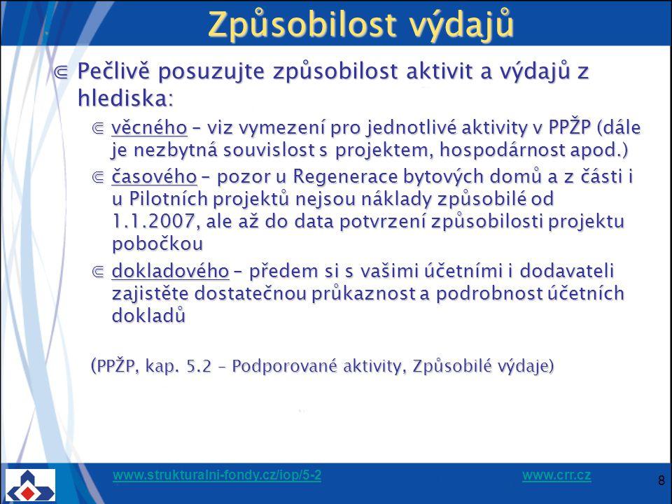 """www.strukturalni-fondy.cz/iop/5-2www.strukturalni-fondy.cz/iop/5-2 www.crr.czwww.crr.cz 19 Příprava žádosti - doporučení ⋐seznamte se s podmínkami výzvy na předkládání žádostí, požadavky PPŽP i požadavky vašeho řídícího výboru IPRM ⋐z předpokládaného termínu předložení žádosti odvoďte potřebný termín zahájení přípravy """"nejzdlouhavějších příloh (např."""