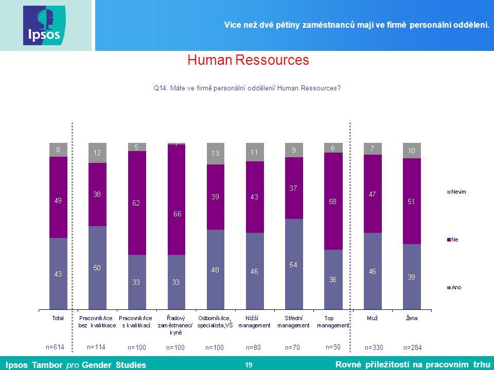 Ipsos Tambor pro Gender Studies Rovné příležitosti na pracovním trhu 19 Více než dvě pětiny zaměstnanců mají ve firmě personální oddělení.