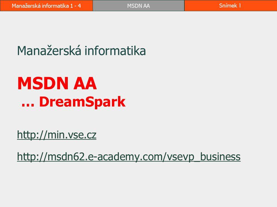 MSDN AASnímek 2Manažerská informatika 1 - 4 Kde nalézt návod Formou této prezentace v e-learningu a na webu http://min.vse.czhttp://min.vse.cz Další návody jsou přímo na webu systému http://msdn62.e-academy.com/vsevp_business  v horní liště Help