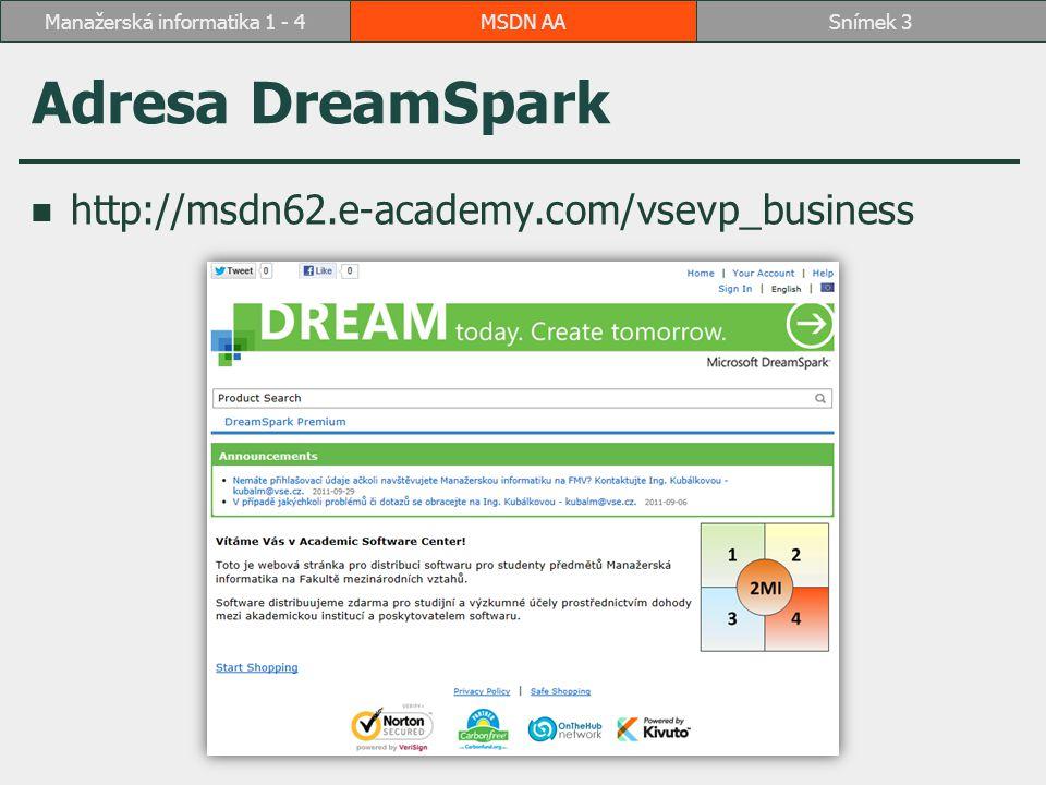 Adresa DreamSpark http://msdn62.e-academy.com/vsevp_business MSDN AASnímek 3Manažerská informatika 1 - 4