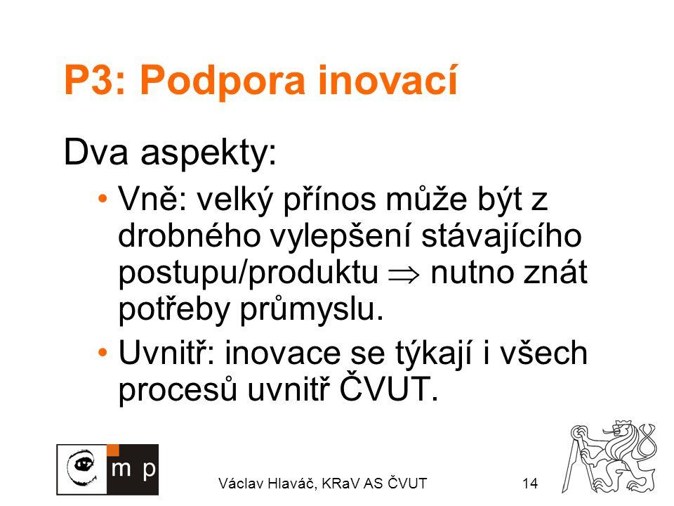 Václav Hlaváč, KRaV AS ČVUT14 P3: Podpora inovací Dva aspekty: Vně: velký přínos může být z drobného vylepšení stávajícího postupu/produktu  nutno znát potřeby průmyslu.