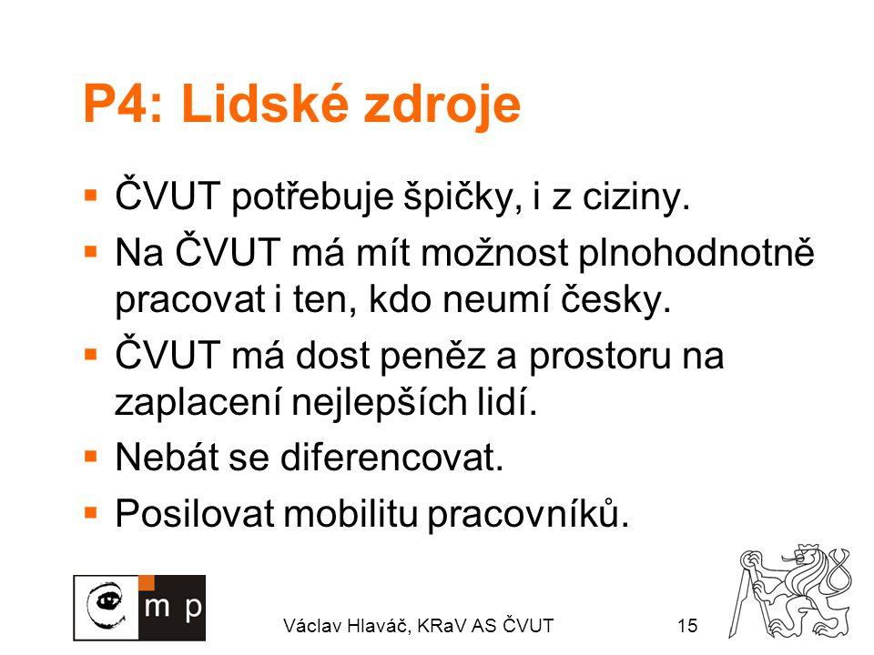 Václav Hlaváč, KRaV AS ČVUT15 P4: Lidské zdroje  ČVUT potřebuje špičky, i z ciziny.  Na ČVUT má mít možnost plnohodnotně pracovat i ten, kdo neumí č
