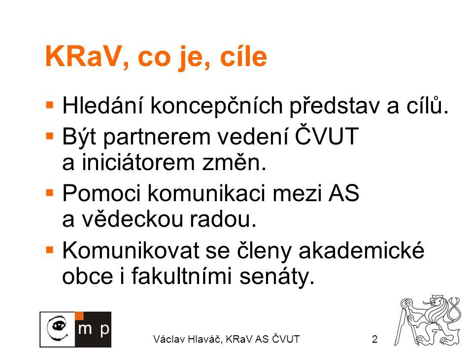 Václav Hlaváč, KRaV AS ČVUT2 KRaV, co je, cíle  Hledání koncepčních představ a cílů.  Být partnerem vedení ČVUT a iniciátorem změn.  Pomoci komunik