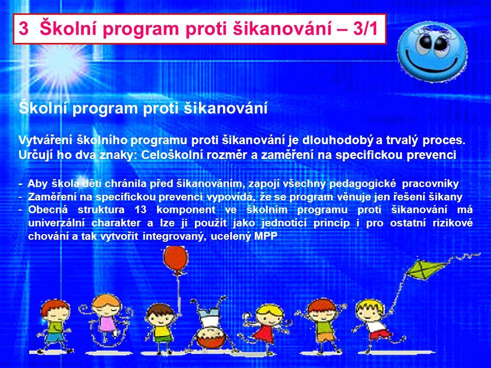 3 Školní program proti šikanování – 3/1 Školní program proti šikanování Vytváření školního programu proti šikanování je dlouhodobý a trvalý proces. Ur