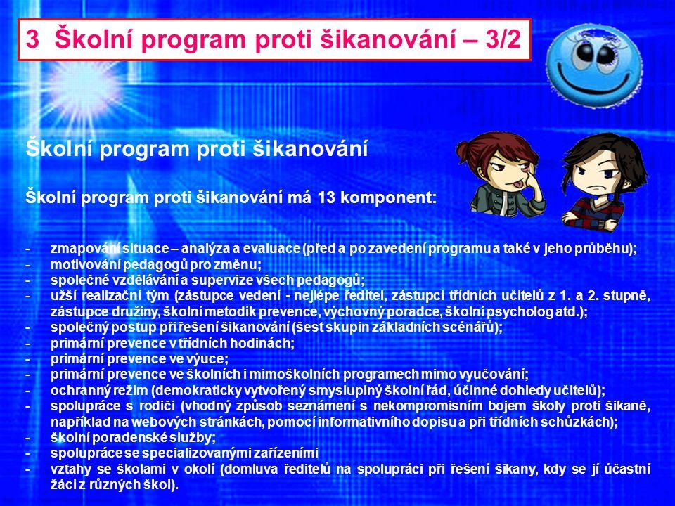 3 Školní program proti šikanování – 3/2 Školní program proti šikanování -zmapování situace – analýza a evaluace (před a po zavedení programu a také v