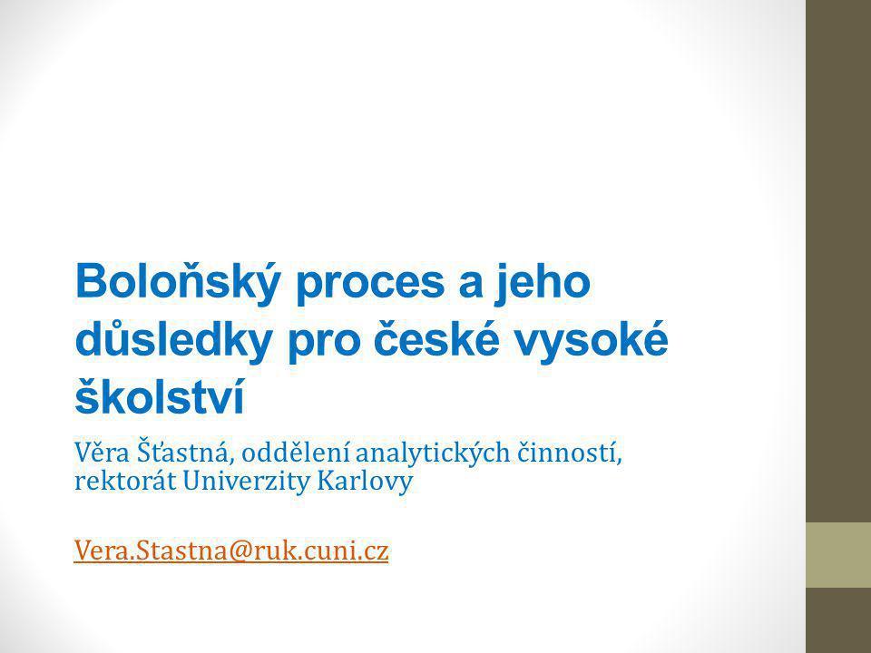 2 Evropský vývoj Boloňský proces – priority, nástroje Evropský prostor vysokoškolského vzdělávání 2