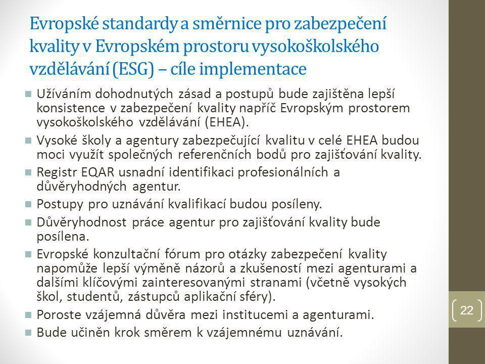 Evropské standardy a směrnice pro zabezpečení kvality v Evropském prostoru vysokoškolského vzdělávání (ESG)- pokračování Část 1: ESG pro vnitřní zabezpečení kvality v rámci vysokých škol Část 2: ESG pro vnější zabezpečení kvality ve vysokém školství Část 3: ESG pro agentury zabezpečující vnější hodnocení kvality V současné době diskuze o tom, že ESG mají být revidovány Problém: Řada vysokých škol neví, že ESG existují, ještě je nezačala implementovat a již budou revidovány Zpráva MAPPING THE IMPLEMENTATION AND APPLICATION OF THE ESG (MAP-ESG PROJECT) dostupná na http://www.enqa.eu/files/op_17_web.pdf http://www.enqa.eu/files/op_17_web.pdf 23