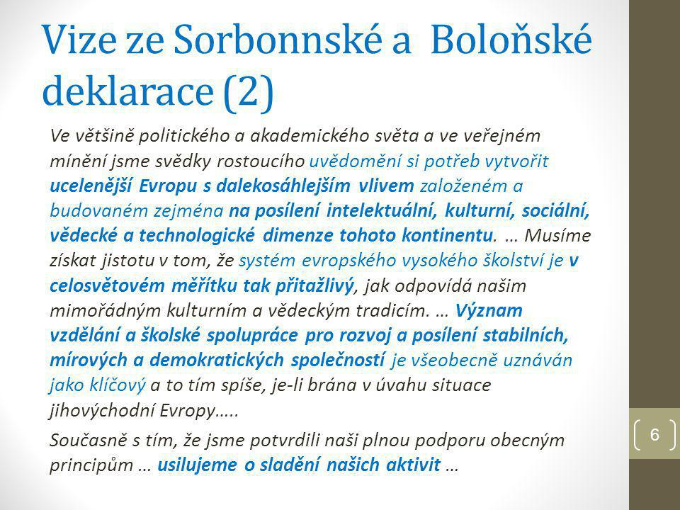 """7 Cíle Boloňského procesu """"Akční plán pro vytvoření Evropského prostoru vysokoškolského vzdělání do r."""