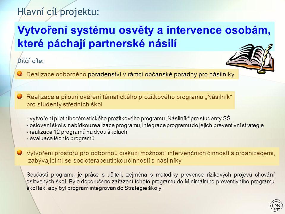 Hlavní cíl projektu: Vytvoření systému osvěty a intervence osobám, které páchají partnerské násilí Dílčí cíle: Realizace odborného poradenství v rámci