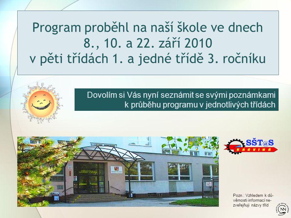 Program proběhl na naší škole ve dnech 8., 10. a 22. září 2010 v pěti třídách 1. a jedné třídě 3. ročníku Dovolím si Vás nyní seznámit se svými poznám