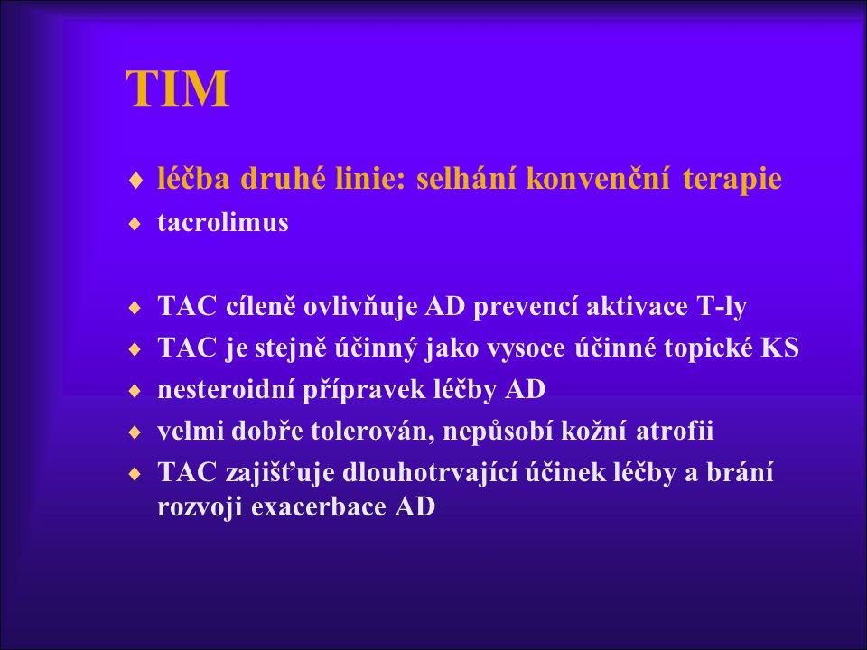 TIM  léčba druhé linie: selhání konvenční terapie  tacrolimus  TAC cíleně ovlivňuje AD prevencí aktivace T-ly  TAC je stejně účinný jako vysoce účinné topické KS  nesteroidní přípravek léčby AD  velmi dobře tolerován, nepůsobí kožní atrofii  TAC zajišťuje dlouhotrvající účinek léčby a brání rozvoji exacerbace AD