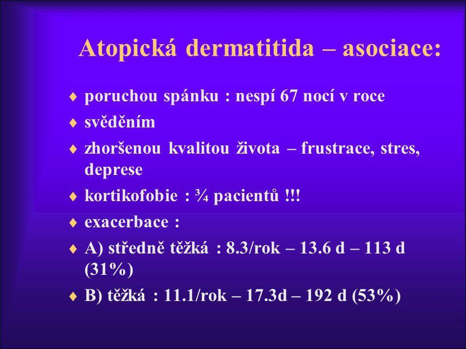 Atopická dermatitida – asociace:  poruchou spánku : nespí 67 nocí v roce  svěděním  zhoršenou kvalitou života – frustrace, stres, deprese  kortikofobie : ¾ pacientů !!.
