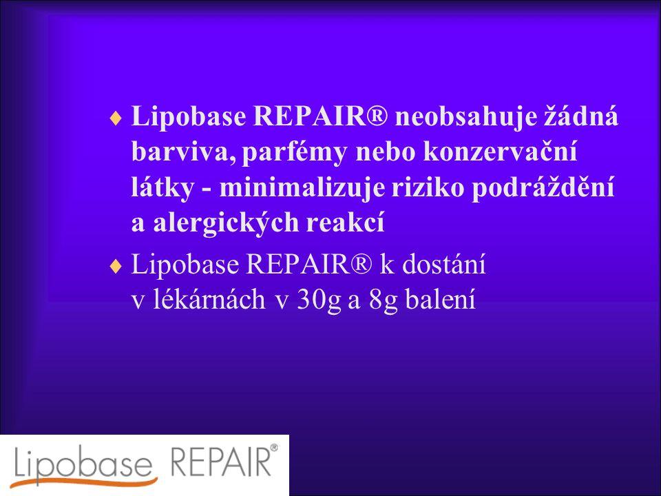  Lipobase REPAIR® neobsahuje žádná barviva, parfémy nebo konzervační látky - minimalizuje riziko podráždění a alergických reakcí  Lipobase REPAIR® k dostání v lékárnách v 30g a 8g balení