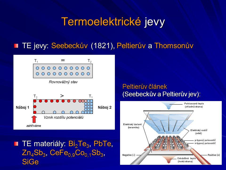 Závislost ,  a  2 na koncentraci volných nositelů proudu v materiálu Teplotní závislost Z-parametru pro vybrané materiály Termoelektrické materiály Kritériem pro výběr je tzv.